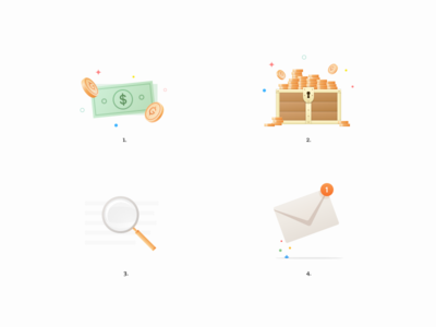 Extension Illustrations email chest magnifier gold money icons illustrations