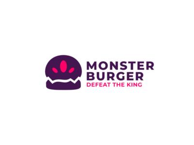 Monster burger - logo concept illustration concept menu lunch stationery card shop box corporate up business identity cafe brand design logogtype branding burger