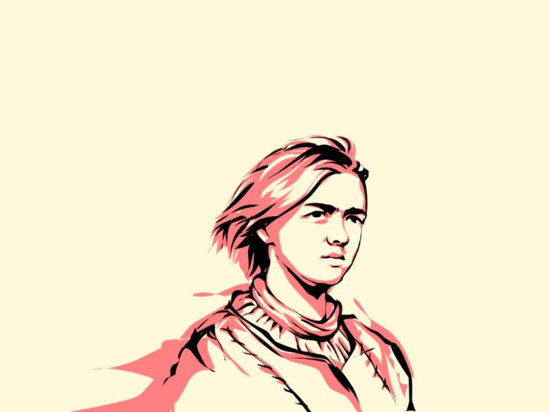 Arya Stark potrait hbo film arya illustrations red game of thrones netflix