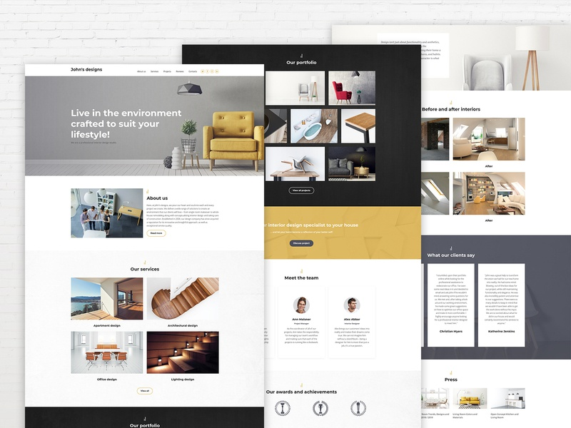 Interior Design Website Templates by Weblium on Dribbble