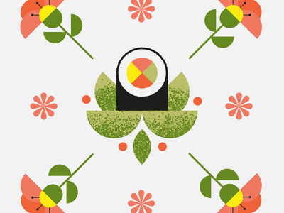 Pattern with sushi and flowers food icons pattern design pattern nature art flat texture retro vector design illustration flowers sushi japanese food japanese art