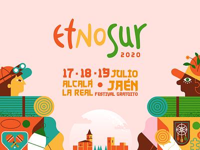 Etnosur 2020 exploration adventure music festival festival circus flat illustration nature art flat texture design illustration vectorart vector