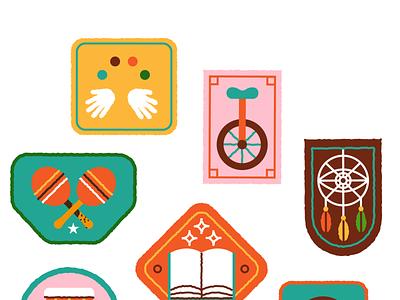 Multidisciplinary patches circus music festival badge design flat illustration art flat retro vector design illustration