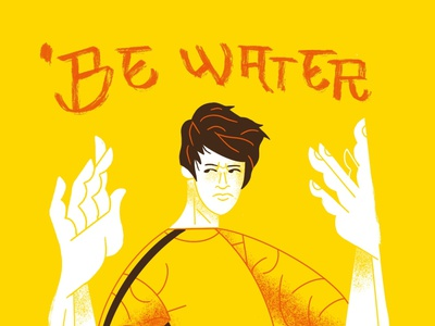"""BE WATER, MY FRIEND"" design studio graphic design martial arts character design bruce lee flat illustration art flat texture retro design illustration"