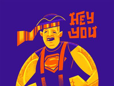 Hey you GUYS!! flat illustration art flat texture retro vector design illustration procreate film poster geekart goonies sloth