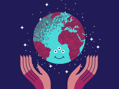 Happy Earth Day planet nature art flat texture retro vector design illustration earth day