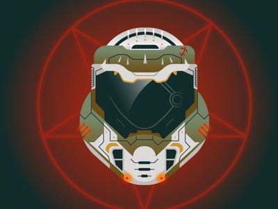 Doom Helmet hell flat illustration art flat texture retro design illustration vector gaming doom