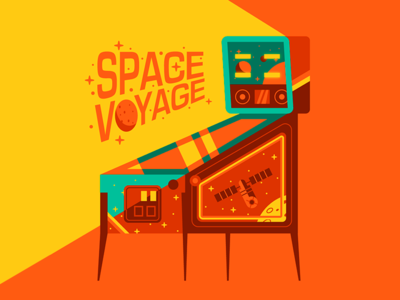 SPACE VOYAGE vector illustration space flat illustration art flat vector design illustration toys retro pinball