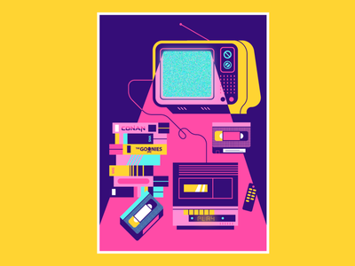 VHS setup flat illustration art flat design illustration 80s vector setup retro vhs