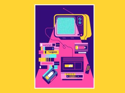 VHS setup flat illustration art flat design illustration 80s vector setup retro vhs