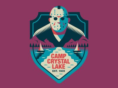 CAMP CRYSTAL LAKE badge halloween flat illustration art flat retro illustration graphic design vector 80s horror movie friday 13th badgedesign