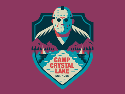 CAMP CRYSTAL LAKE badge halloween flat illustration art flat retro illustration graphic design vector 80s horror movie friday 13th badgedesign