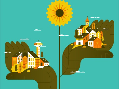 GREEN ENERGY solar power cityscape sunflower energy nature flat illustration art flat vector illustration spot illustration ecology