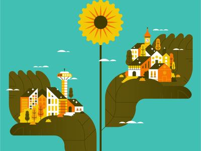 GREEN ENERGY solar power cityscape sunflower energy nature flat illustration art flat vector illustration spot illustration ecology