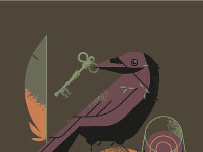 The Raven flat illustration art flat texture retro design vector illustration book cover editorial illustration edgar allan poe crow raven
