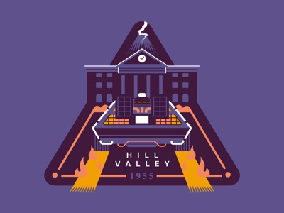Welcome to Hill Valley, California delorean flat illustration art flat retro vector illustration geek art badgedesign patch back to the future