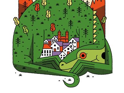 """La leyenda del Lagarto de Jaén"" spot illustration editorial illustration nature flat illustration art flat texture illustration vector tale jaen lizard"