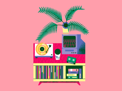 Turntable setup for July art flat illustration texture retro design vector illustration music art vinyl setup turntable vaporwave summer