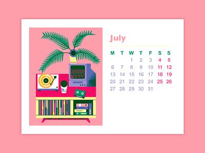 Turntable setup for July art flat illustration texture retro design vector illustration music art vinyl setup turntable vaporwave summer