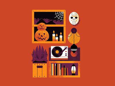 October 2020 turntable setup pumpkin jason friday 13th vinyl record turntable calendar design halloween flat illustration art flat texture retro design vector illustration