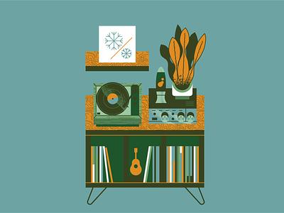 Turntables, plants & furniture. 2020 Calendar design flat illustration flat texture retro vector illustration furniture plants music turntable vinyl calendar