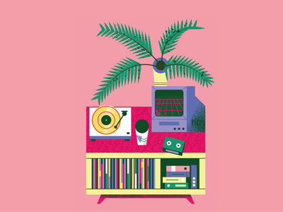 Turntables, plants & furniture. 2020 Calendar graphicdesign flat illustration art flat texture retro illustration vector vinyl toy deco furniture plants turntable