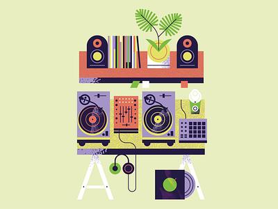 Turntables, plants & furniture. 2020 Calendar fine art graphic design setup plants deco turntable vinyl flat illustration art flat texture retro vector illustration