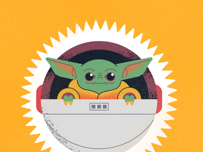 Baby Yoda disney plus baby yoda the mandalorian flat illustration texture retro design vector illustration