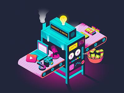 Create O´Matic money camera tech isometric illustration texture design illustration vector content tiktok podcast youtube creator