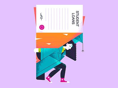 Student loans art texture flat illustration design illustration graphicdesign vector editorial illustration loans college student