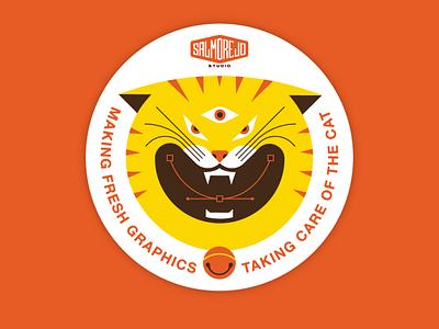 Taking care of the cat branding flat illustration flat inspiration design graphic design illustration vector sticker cat