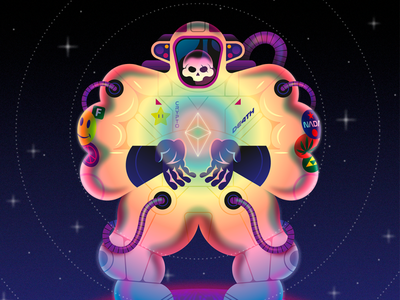 The Ethstronaut art ethereum scifi skeleton skull astronaut science space gradients vector illustration nftart nft