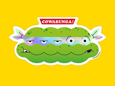 Cowabunga! sticker nostalgia retro shop vectorart vector illustration geek art popart tmnt teenage mutant ninja turtles vector sticker