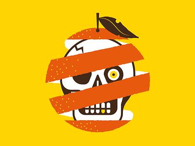Hard to peel food halloween spot illustration icon illustration sticker creepy skull vector illustracion