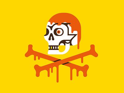 Sauce to the bone graphic design halloween creepy bones skull logo art flat design vector illustration
