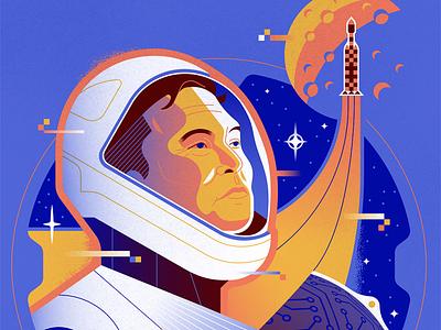 Elon Musk graphic design retro entrepreneur portrait digital art art texture vector illustration tech illustration editorial illustration falcon heavy astronaut space hi-tech hyperloop spacex tesla elon musk