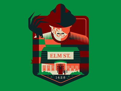 1428 Elm Street logo art retro design vector flat illustration graphic design badge design 80s 80s movies horror movies freddy krueger