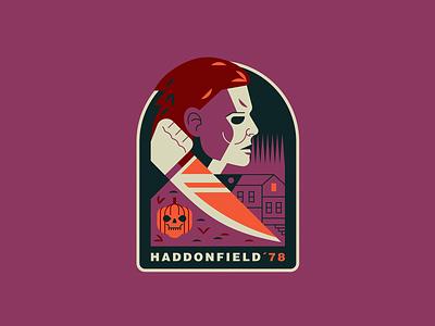 Haddonfield´78 badge design horror movies 80s horror john carpenter michael myers halloween art retro design illustration vector sticker
