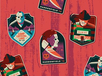 Slashers stickers slasher halloween 80s horror horror movies flat art retro design vector illustration stickers badge badge design