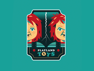 Playland Toys good guys toys halloween sticker art flat design vector illustration 80s patch horror movies child´s play chucky badge design badge
