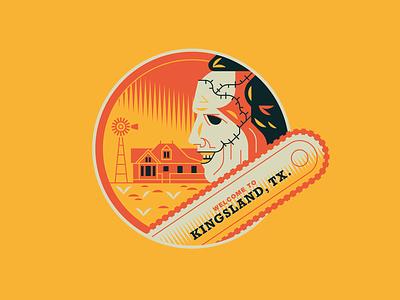Welcome to Kingsland, TX. halloween slasher art flat design vector illustration badge sticker massacre chainsaw movies horror texas leatherface