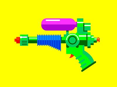 Watergun icon fun illustration design flat toy watergun