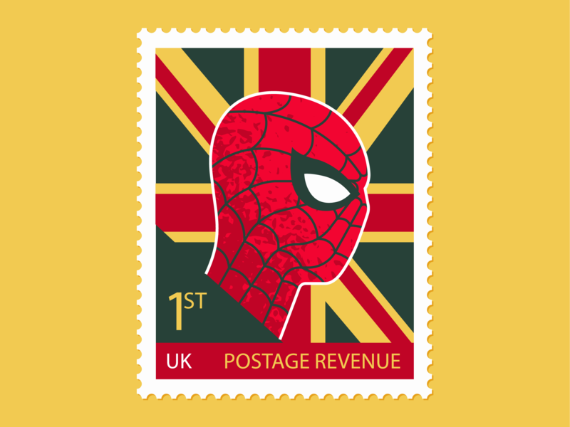 Spiderman Far From Home postage stamp editorial flat illustration texture retro flat vector design illustration stamp marvel spiderman