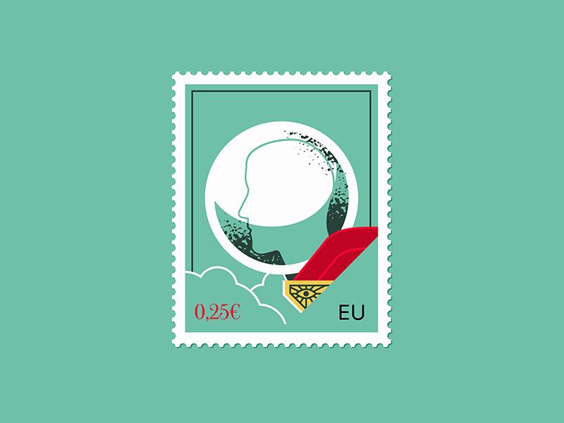 Mysterio postage stamp editorial letter flat illustration texture retro flat vector design illustration stamp stamp design postage stamp marvel spiderman mysterio