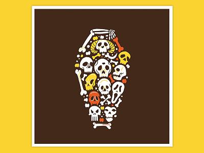 Day 2: Catacombs vector design texture art illustration procreate inktober halloween drawlloween graveyard skulls catacombs