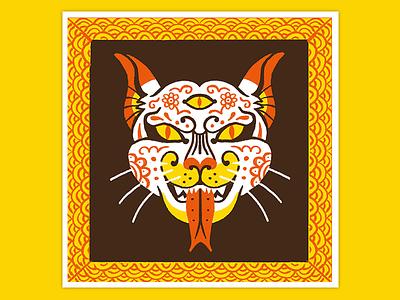 Day 7. Yokai procreate art retro illustration ghost bakeneko cat halloween inktober drawlloween japanese culture creature yokai