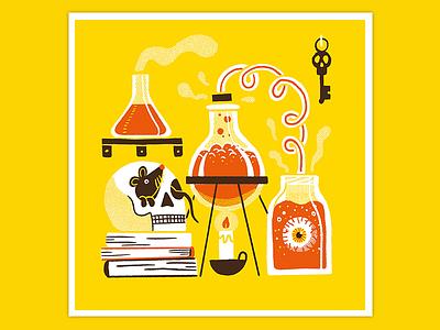 Day 14: Laboratory horror art texture flat retro illustration creature procreate inktober drawlloween halloween creep laboratory