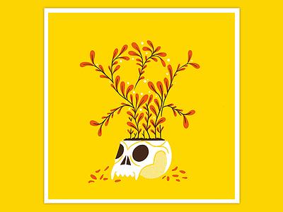 Day 16: Poison Plant nature texture retro illustration halloween illustration inktober2019 drawlloween halloween horror death flower plant skull poison poison plant