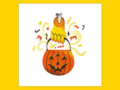 Day 31: Trick or Treat art texture retro illustration hand halloween illustration pumpkin drawllowen candy halloween trickortreat