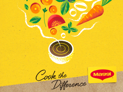 """Maggi """"Cook the difference"""" onion parsley carrot basil tomato foodie foodpackaging foodporn food illustration recipe illustration recipes cooking kitchen food nature art retro vector illustration"""